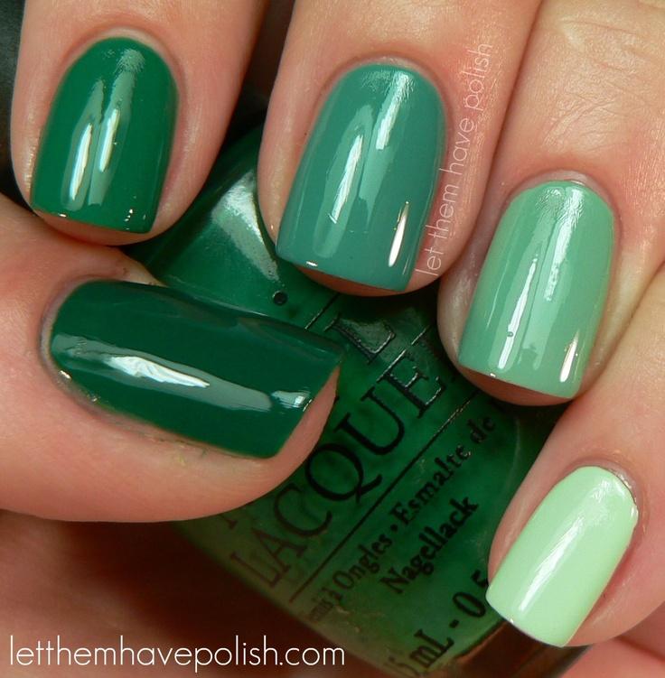 creamy greens - nail polish -  from thumb to pinkie:   Bettina #194, O.P.I Jade is the New Black, Misa Dirty, Sexy Money, O.P.I Mermaid's Tears and China Glaze Re-Fresh Mint