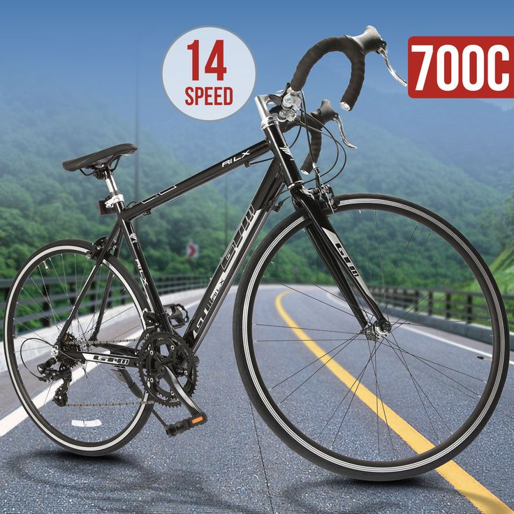 14 Speed Aluminum Frame 700C X 54C Shimano Road Bike Racing Bicycle Black