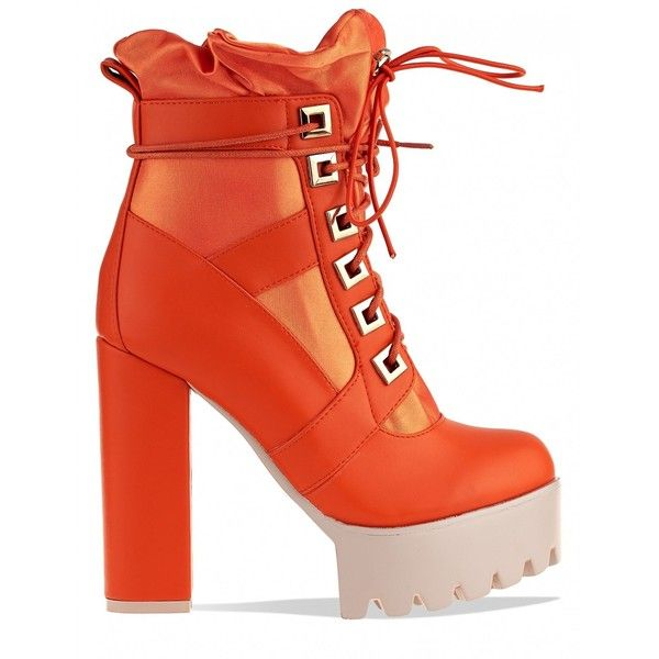 Renegade Lace Up Extreme Platform Ankle Boots In Orange PU (€52) ❤ liked on Polyvore featuring shoes, boots, ankle booties, high heel bootie, laced up ankle boots, lace up platform boots, platform bootie and high heel ankle boots