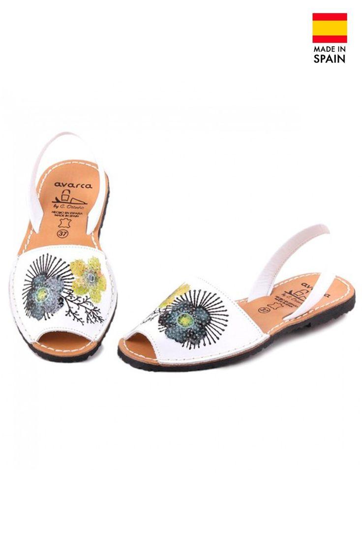 Sandale Avarca Menorquinas de dama din piele naturala, Crazy Print, alb | Summer Sandals | Colecții