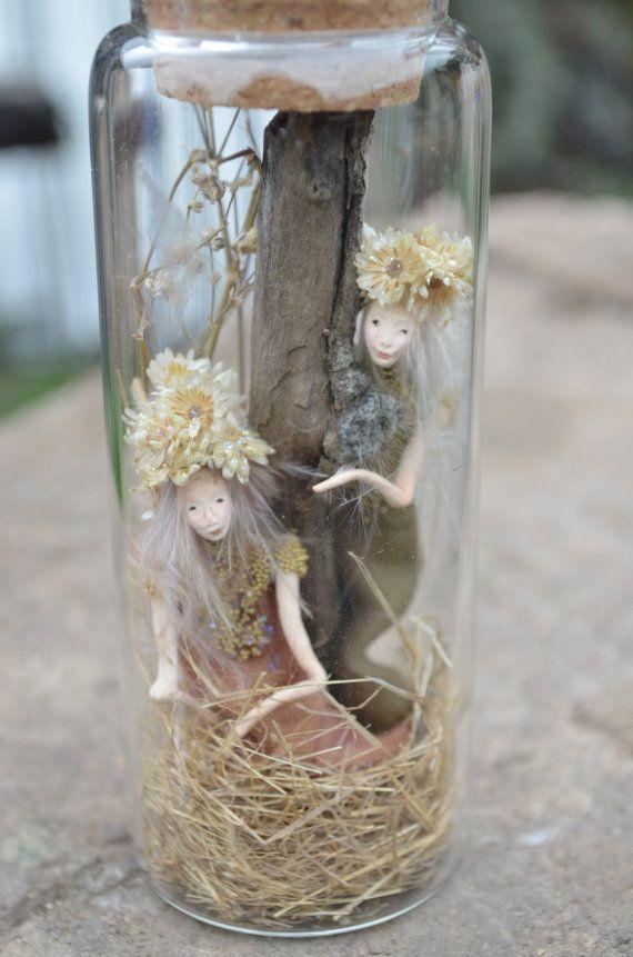 Fairy Отдых в заколдованном бутылку Woodland по littlefolkoffaery