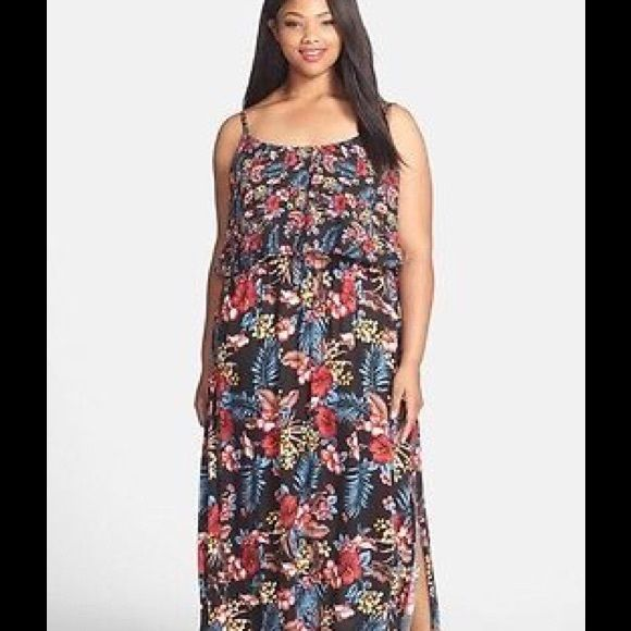 """HPCity Chic 18W popover maxi A fluttery bodice overlay creates of-the-moment popover styling for a flowy woven maxi dress with a figure-defining elasticized waist and a leg-baring side slit. A bright floral print adds a laid-back tropical vibe. - 56 1/2"""" center front length - Slips on over head - Adjustable straps - Unlined - 100% viscose - Hand wash cold, line dry Additional Info: Lightweight slightly stretchy fabric. True to size.  Bundle for even bigger savings! Offers welcome. No trades…"""