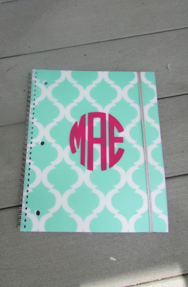 Green and White Pattern Monogram Notebook for Back to School, College, and Work!