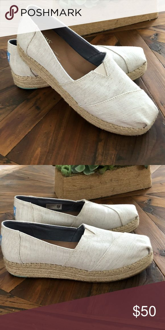 Toms espadrille sandal Toms Sandals worn 1-2 times. In very good condition. Slight scuff on back heel and top of shoe, but barely visible. Toms Shoes Espadrilles