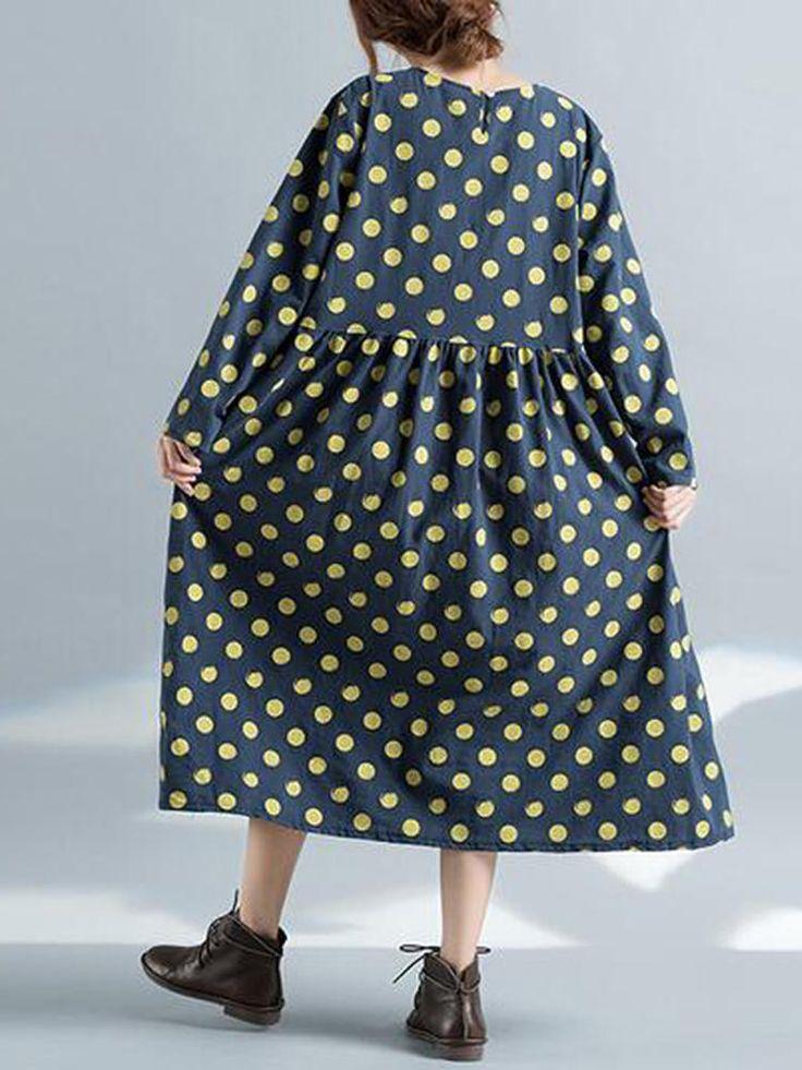 Casual Loose Women Long Sleeve Pockets Polka Dots Dress at Banggood  #women #fashion