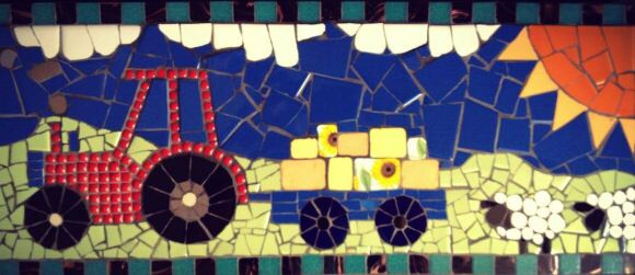Mosaic tractor country fun