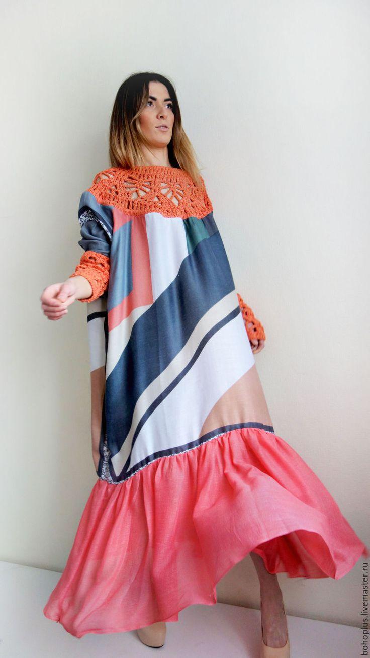 """Купить Платье в стиле бохо """"Стелла Коралл"""" - комбинированный, абстрактный, платье, платье в пол"""