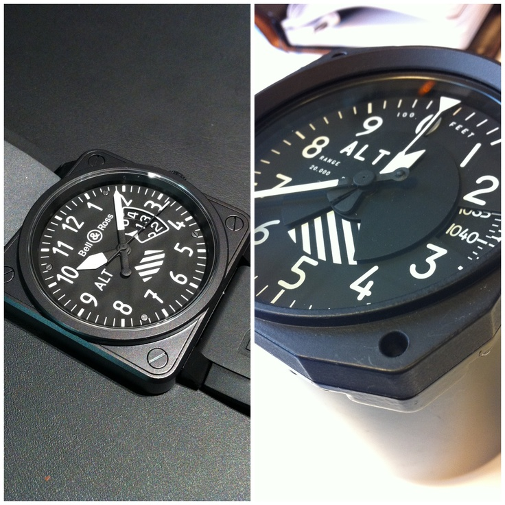 BR01 Altimeter with its instrument inspiration.  Bell & Ross