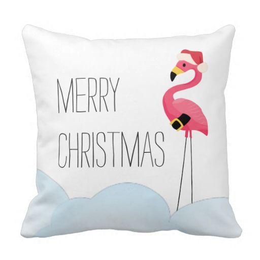 Tropical Christmas Flamingo Santa Claus Throw Pillow