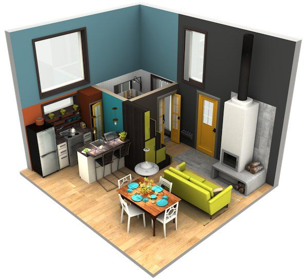 The dimensions are approximately 18′ x 15′ so it has just a 270 sq. ft. footprint and of course more living space than that because of the upstairs loft.
