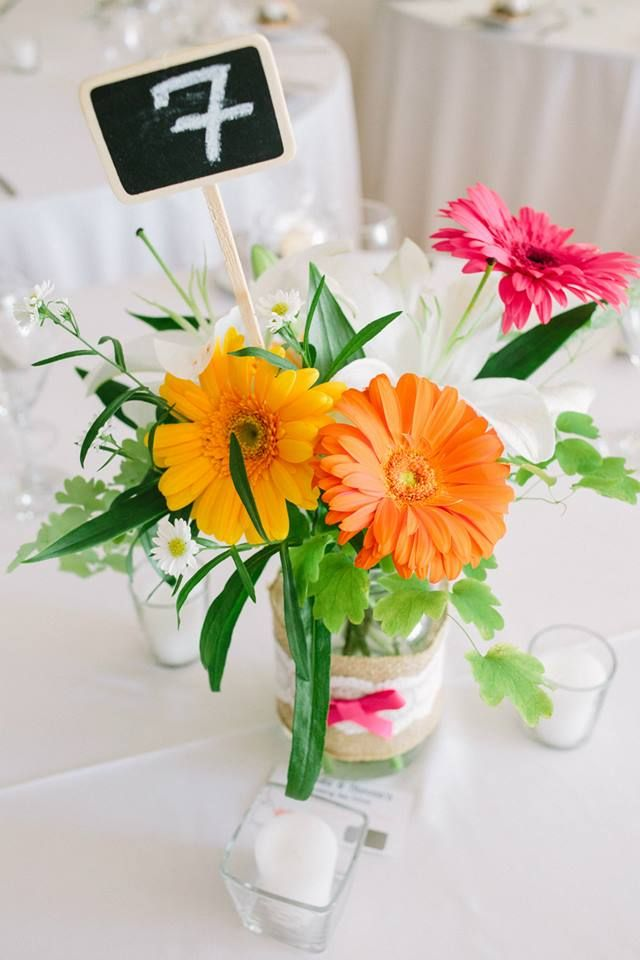Colourful Summer Centrepieces, with chalk board signs