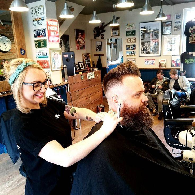 Zoe representing the females in barbering.  Fine job too. #uppercut #jackrabbitslymington #captainfawcett #barberlife #barber #girlbarber #style #beard #internationalbarbers #fuelbarberproducts #quiff #mensgrooming by jackrabbitslymington