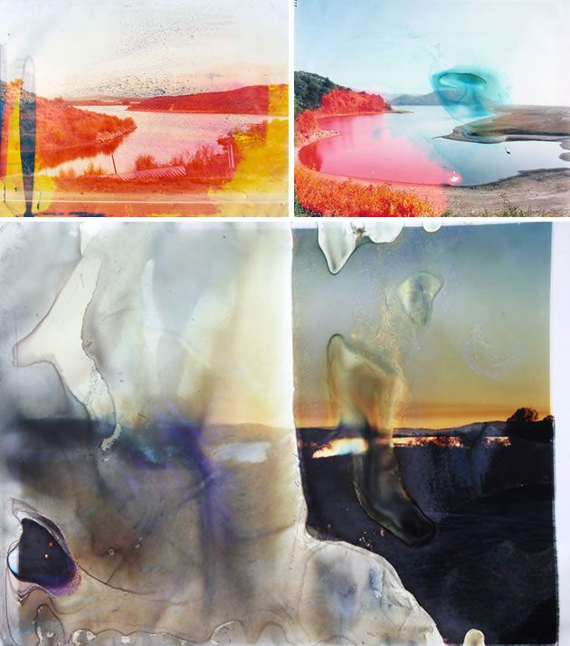 Matthew Brandt has created unexpected and dramatic running of coloured ink by submerging printed photographs of water in the lakes or waterways that they represent. This is a great example of how creative photography techniques can (and should) be driven by the subject or theme that is explored.