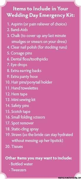 wedding day emergency kit. Must have wedding checklist...All you need for your…