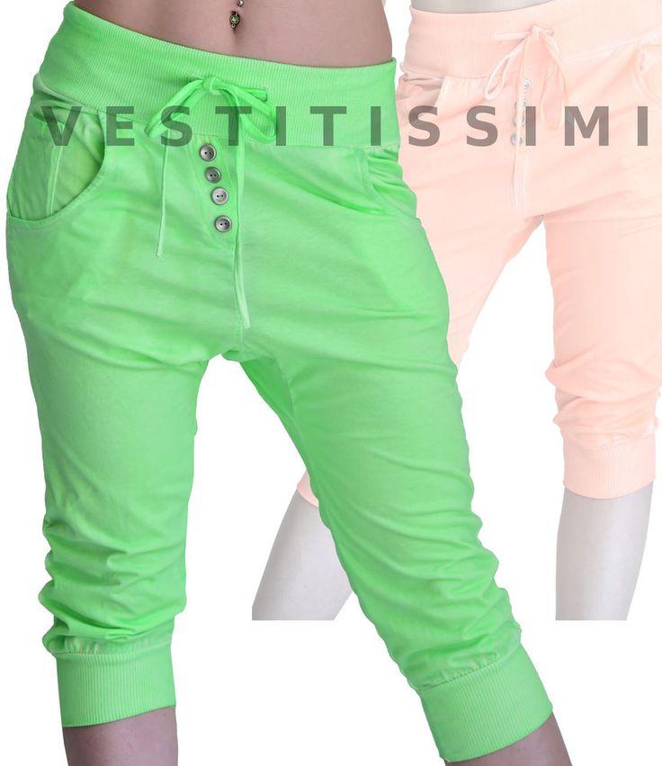 Pinocchietti pantaloni capri pantaloncini donna sportivi tuta fitness nuovi Ps05