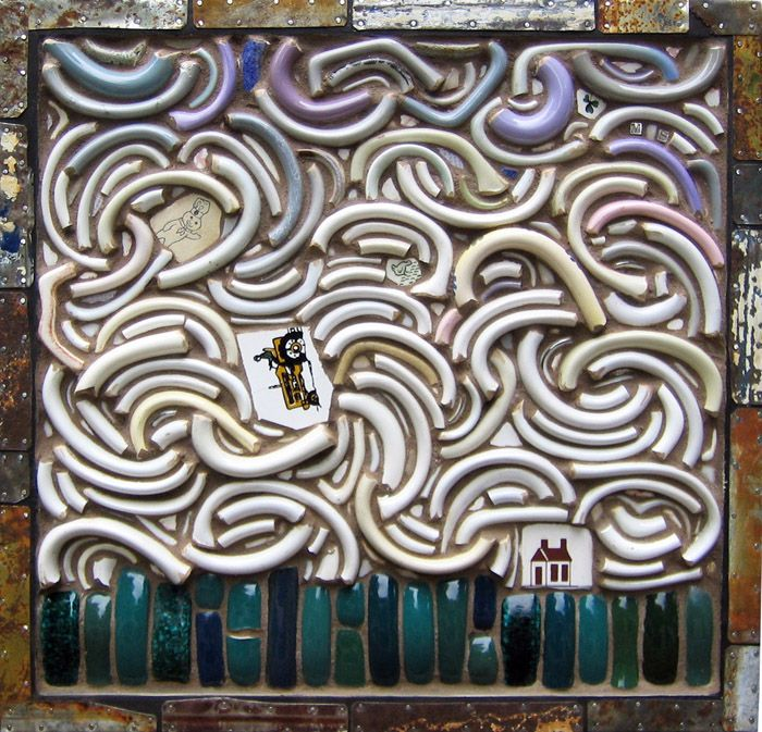 Windstorm Broken Coffee Cup Handles And Ceramic Tile Mosaic 14 H X