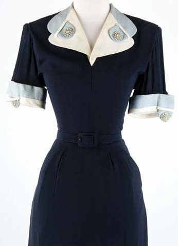 40s blue rayon dress with sky blue & white trim. |  Note the interesting collar detail.