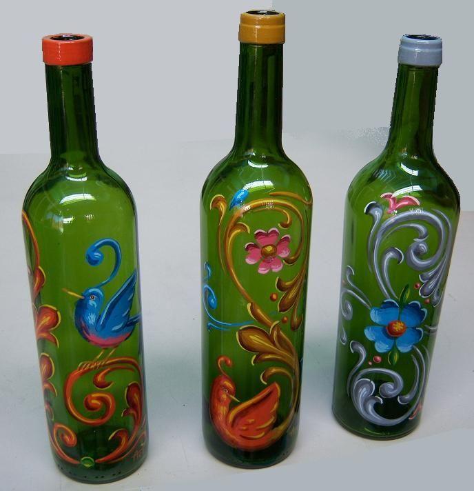 botellas pintadas a mano con acrilico - Buscar con Google