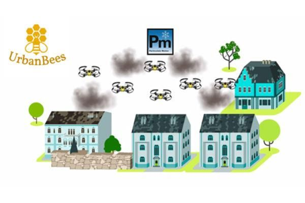Madrid students propose UrbanBees flying drones that turn pollution into 3D printing filament