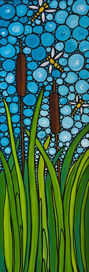 Dragonfly Pond Painting  - Dragonfly Pond Fine Art Print: Mosaics Art, Cat Tail, Ponds Paintings, Zen Cat, Art Prints, Fine Art, Dragonfly Ponds, Sharon Cummings, Dragonflies