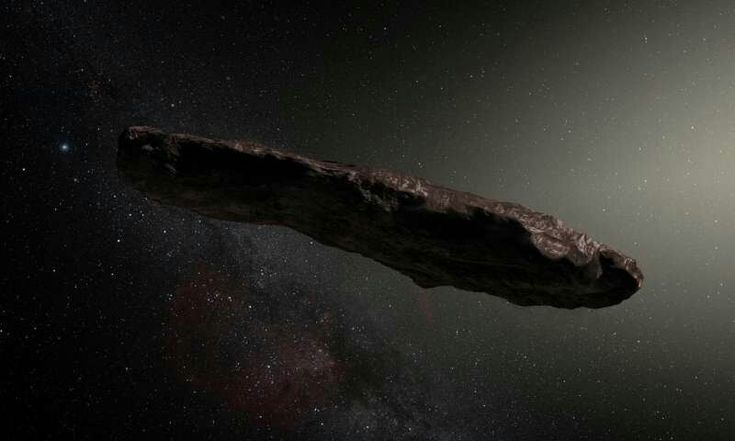 Oumuamua given its weird trajectory, surprised researchers immediately concluded it was from beyond our planetarysystem—the first interstellar object ever identified in our midst.  The rock is thought to be about 400 metres (1,300 feet) long, and thin—only about 40 m wide, a never-before-seen shape for an asteroid.