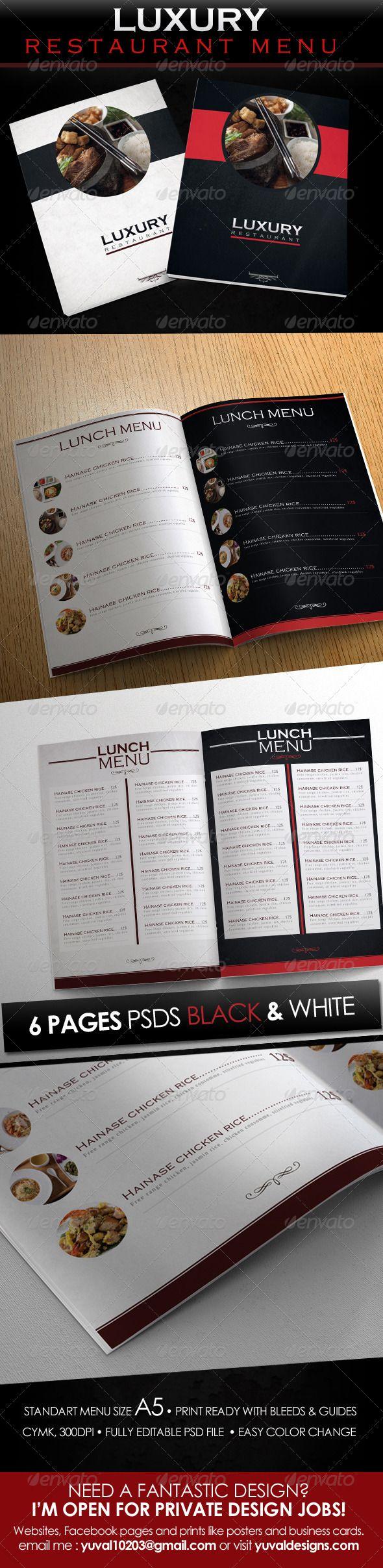 Luxury Restaurant Menu Design Template - Food Menu Print Template PSD. Download here: http://graphicriver.net/item/luxury-restaurant-menu-design-template/4398674?s_rank=84&ref=yinkira