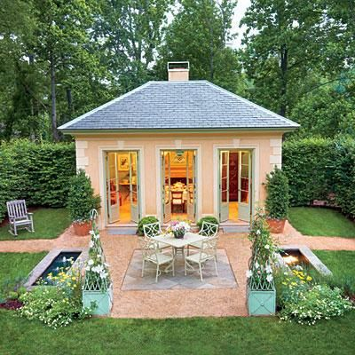 "Classical Pavilion | Similar to a folly, ""the pavilion is a strong visual element that draws the eye to the long view and makes you want to stroll the garden to go see it."" 
