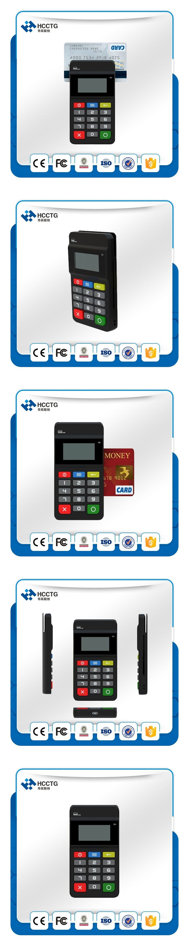 New Bluetooth mobile POS payment terminal with nfc readermagnetic card reader and display keypad from China supplier HTY711