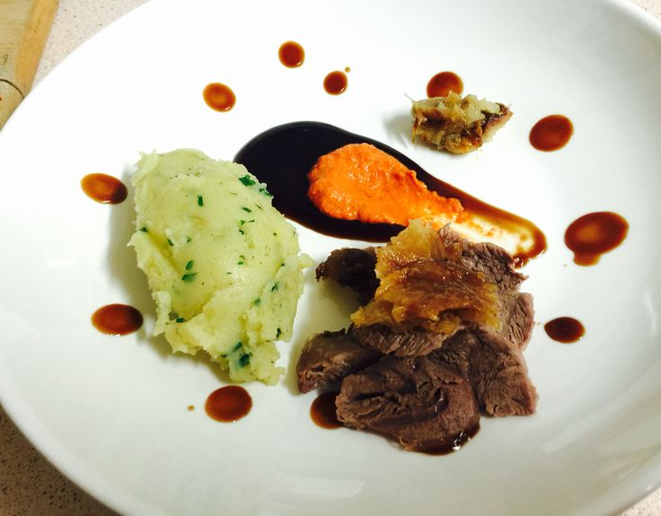 Sticky Roast Lamb with Chive and Garlic Mash and Jus by Ondy basilpeppers.com.au