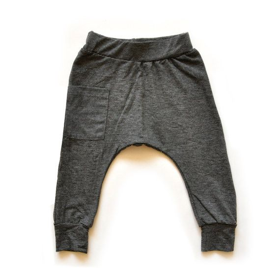 Baby Boy / Baby Girl Long Johns Pants in Black & white Stripes With a Grey Side Pocket