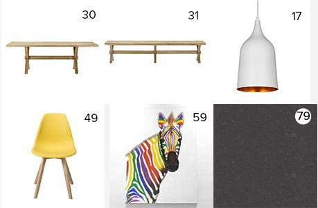 Get the look - Quinn & Ben's Kitchen & Dining Room - The Block NZ 2014 - visit blog.curate.co.nz for links to all products | Dining Table, Bench seats & Dining Chairs from Freedom; Plato Pendant Light from Lighting Direct; Zebra Print from Objects We Love or Mocka; Kitchen Bench is Caesarstone Raven™ from Laminex NZ