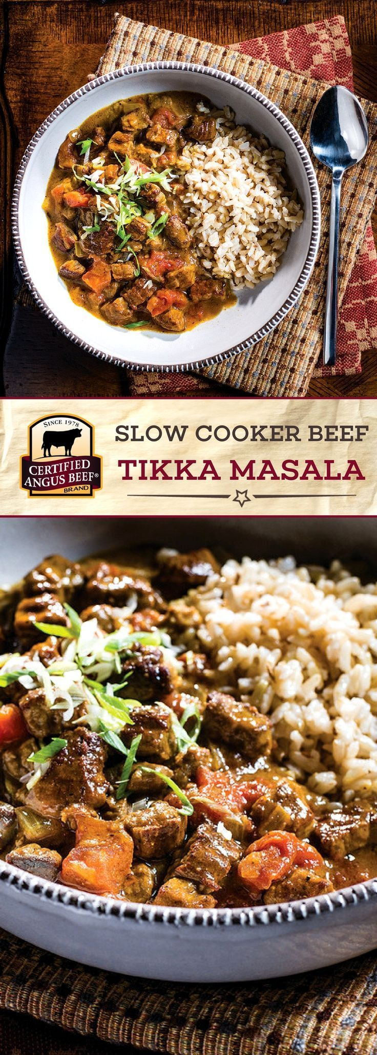 Certified Angus Beef®️️️️️️️️️ brand Slow Cooker Beef Tikka Masala is the BEST comfort food! Bottom round flat beef combined with a DELICIOUS curry mixture makes this dish stand out. It's so EASY to make this tasty tikka masala recipe in the slow cooker!  #bestangusbeef #certifiedangusbeef #beefrecipe #easyrecipes #curryrecipe #slowcookerrecipes