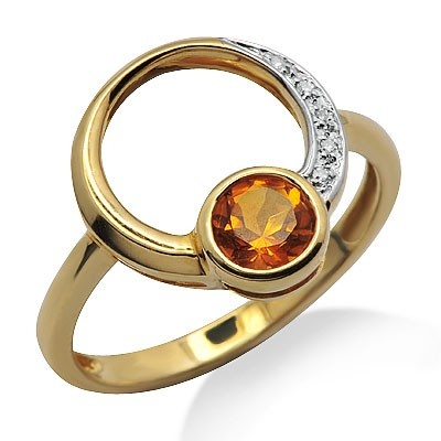 This simple design features a lovely 0.43ct citrine gemstone with 1 row of brilliant round cut diamonds on the side of it. The color of the diamonds are G/H and the clarity is SI2/SI3.Different ring sizes may be available. Please inquire for details. $132.00