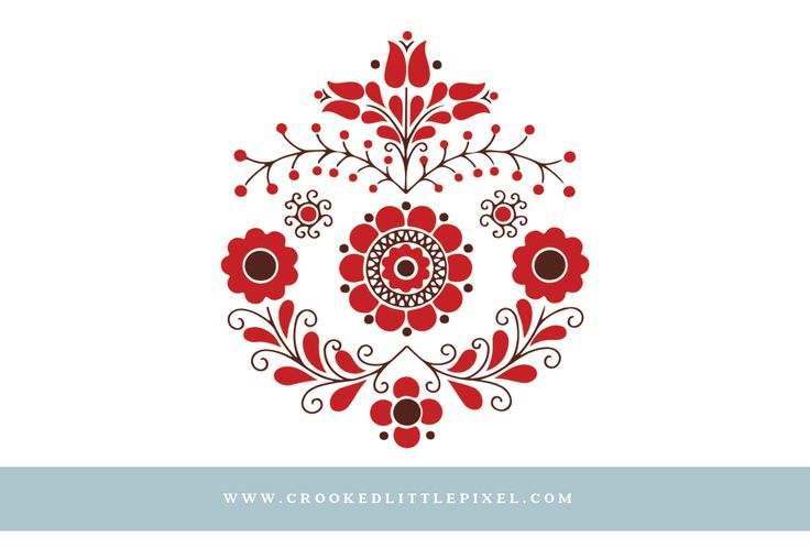 Free piece of scandinavian folk art clipart. Digitised from a teeny detail on a vintage plate. In transparent PNG format xx