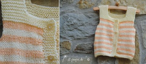 Knitted pastel colored cardigan for toddler handmade by Atelier Faggi. Righe color pastello per un piccolo gilet... by Atelier Faggi.