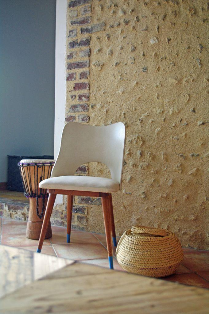 Chaise et panier osier vintage