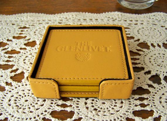 Vintage Leather Coaster Set Glenlivet by cynthiasattic on Etsy, $35.00