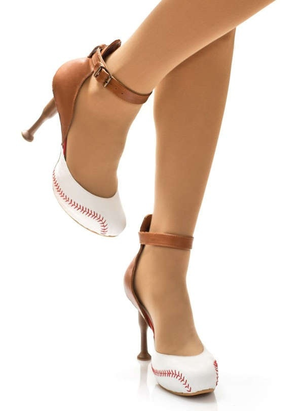 Ladies who love Baseball, here's another pair of shoes to go with the baseball bra and shorts found on this board! Who knew?
