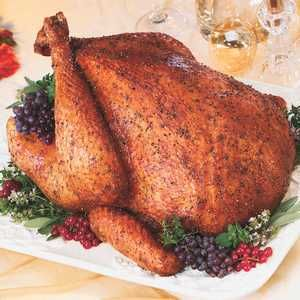 Savory Herb Rub Roasted Turkey Recipe with nutmeg, sage, paprika, bay leaves, and garlic