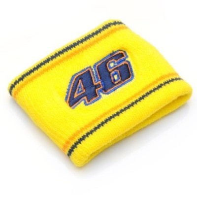 Official Valentino Rossi Merchandise Navy Blue/Yellow Wristband. This Valentino Rossi wristband features an embroidered #46 and is a great item for fans of 'The Doctor' especially when you're working out! Also available in yellow, so you can mix and match and go for a contrast effect with a different colour on each wrist!