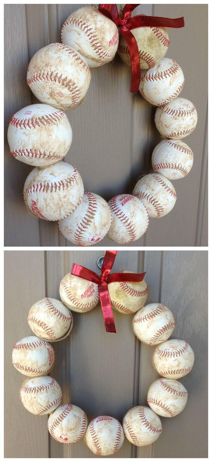 Baseball wreath. easy DIY craft. Baseball season décor. how-to baseball and wire hanger wreath. Popular with the Poplins