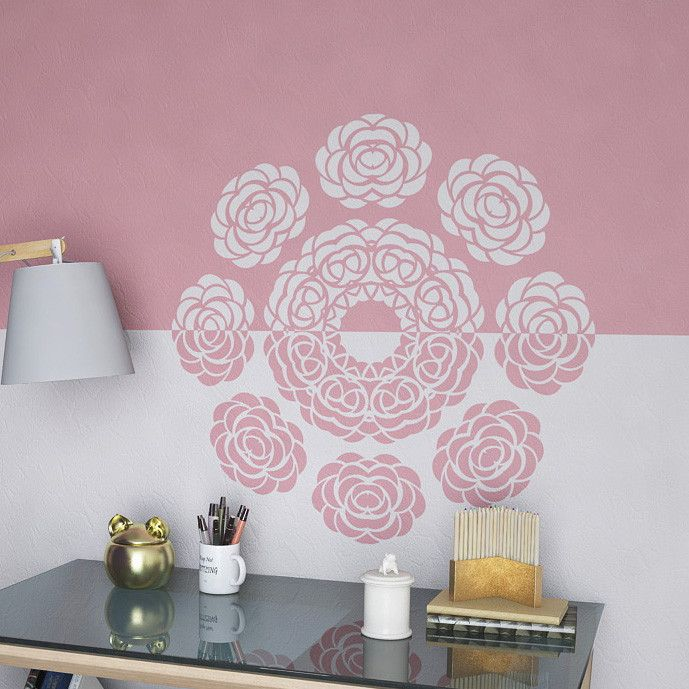 Round Mandala Style Stencil with Flowers