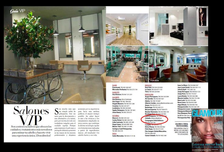 Los salones Compagnia della Bellezza incluidos entre los salones VIP de España en la revista Glamour.