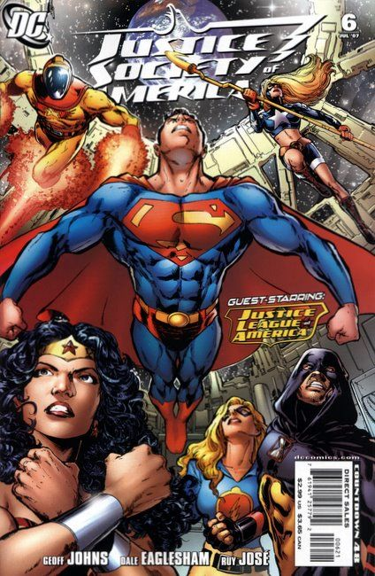"""""""""""The Lightning Saga (Part IV of V) - Three Worlds"""""""": Superman tells the assembled members of the Justice League and Justice Society about his experiences with the Legion of Super-Heroes. He knows the origin of the strange lightning rods they hav Superman tells the assembled members of the Justice League and Justice Society about his experiences with the Legion of Super-Heroes. He knows the origin of the strange lightning rods they have found, and tells them that they were once used to..."""