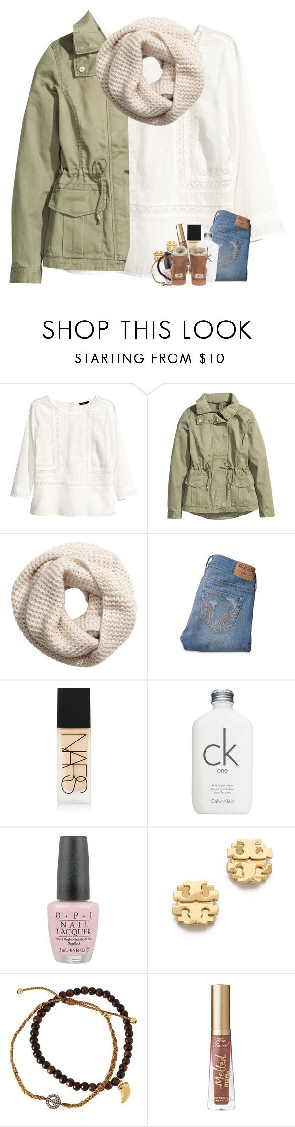 """""""fall h&m vibes"""" by madelinelurene ❤ liked on Polyvore featuring H&M, Hollister Co., NARS Cosmetics, Calvin Klein, OPI, Tory Burch, Tai, Too Faced Cosmetics and UGG Australia"""