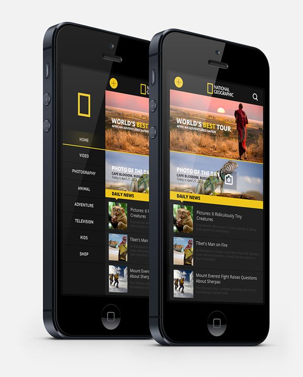 National Geographic iphone App. by Enes Danış, via Behance