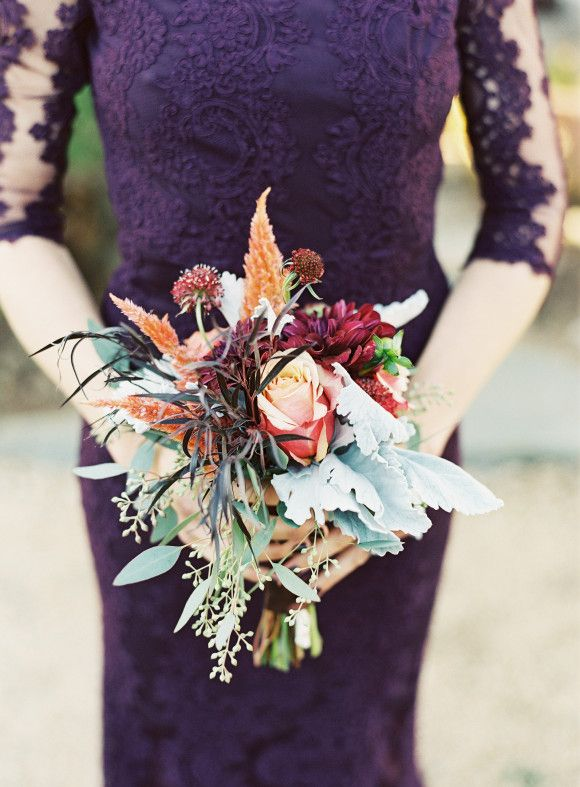 purple lace bridesmaids dress and autumn bouquet | Adam Barnes Photography