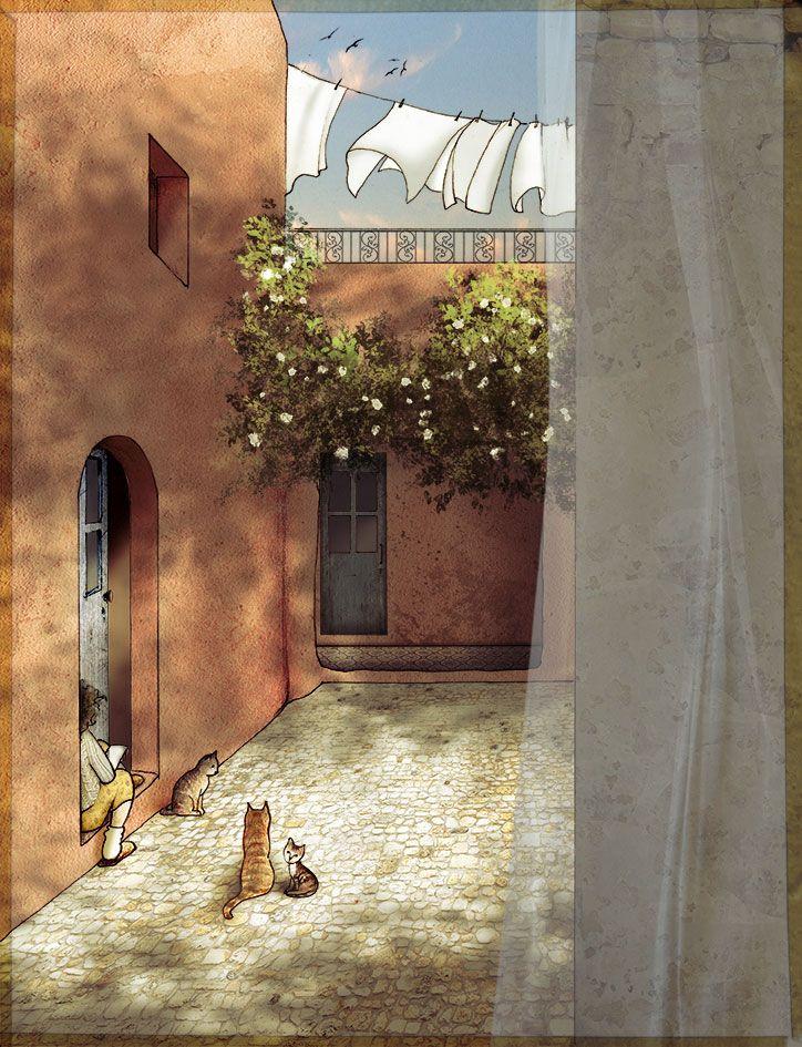 Prima di cena. Pen + soft pastels + Photoshop. #illustration #art #poetry #graphics #drawing #mediterranean #spring #sunset #children #cats