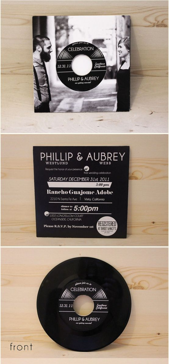 cool idea! album wedding invitations for soon-to-be-married musician couples! :)