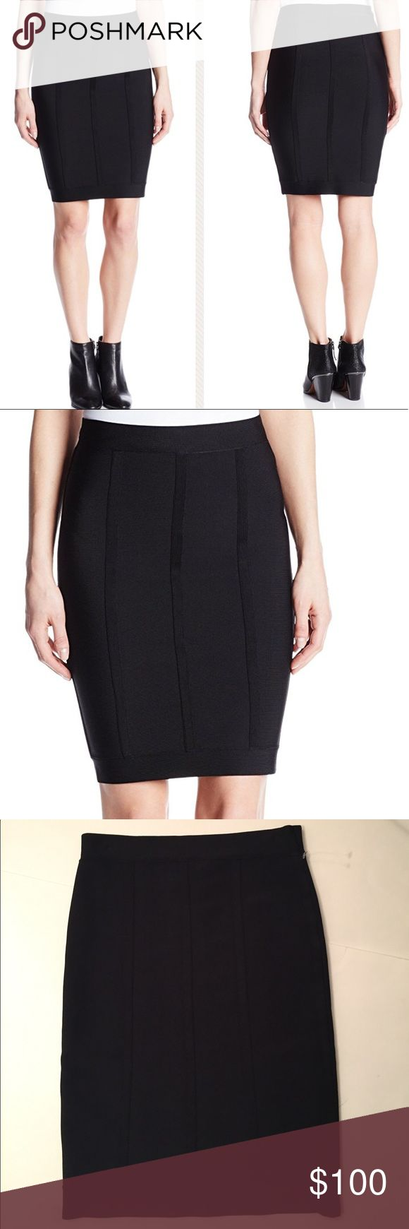 BCBGMAXAZRIA Nita Pencil Skirt BCBGMAXAZRIA Nita Pencil Skirt in Black. Solid-tone tube skirt with elasticized waistband and horizontal strapping/piping  throughout. Banded hemline. Pencil skirt silhouette. Rayon/Nylon/Spandex. New without tags. BCBGMaxAzria Skirts Pencil